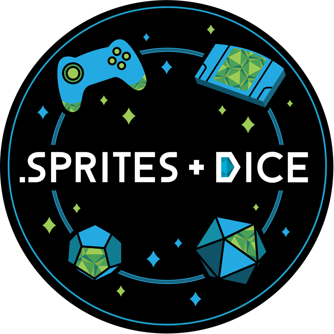 Sprites and Dice Round Logo with Icons
