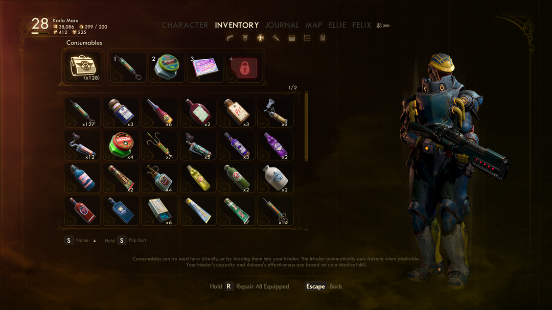 the outer worlds inventory